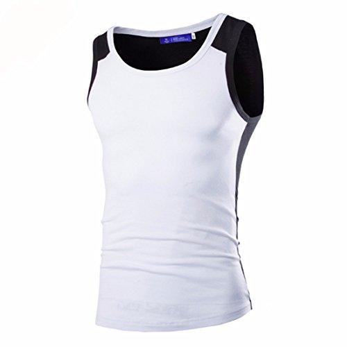 Men's Casual Fitness Elastic Quality Fashion Sleeveless Vest white