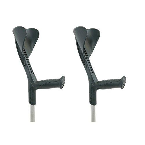 Muletas 2 uds negras   Aluminio regulables altura
