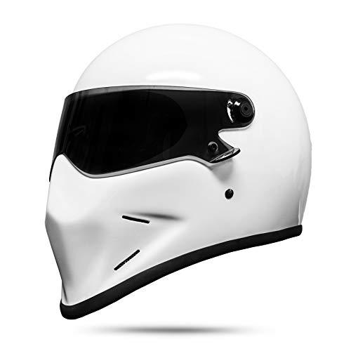 ATO Dark Fighter - Casco integrale da moto, colore: nero opaco, bianco, S M L XL