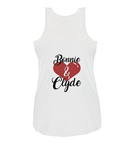BONNIE And CLYDE ® - T-shirt - Senza maniche  - Donna Weiss / Schwarz-Rot