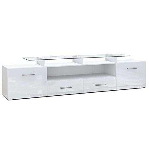 Meuble TV bas Almada V2, Corps en Blanc mat/Façades en Blanc en haute brillance
