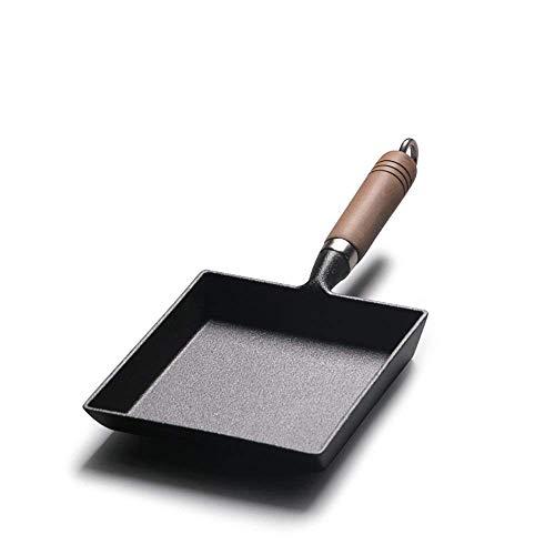 GRASSAIR Tamagoyaki Japanerin Omelette Pan Cast Iron Wooden Handle Flat Bottom Frying Pan Omelette Pan