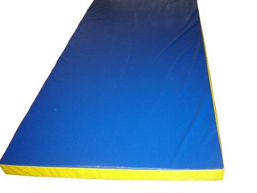 Tapis de gymnastique enfant épais en mousse, aire de réception, aire de chute BLEU-jaune 2mx1mx8cm (GE-03BJ/WB-5)