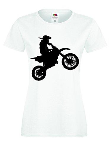 Motocross Shirt Motorrad Biker T-Shirt Gr. S - XXL Damen Weiss-Schwarz