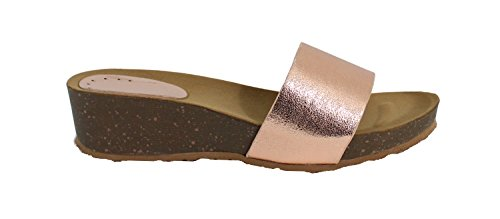 By Shoes Mule Compensée Style Cuir - Femme Champagne