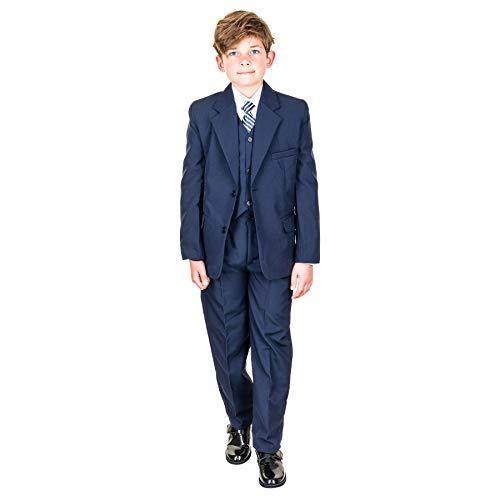 Hei Mei 5tlg. Jungen Fest Anzug Kommunionsanzug Smoking Kinderanzug für viele Festliche Anlässe M133bl Blau 10/128 / 134 (Jungen Für Anzüge Kommunion)