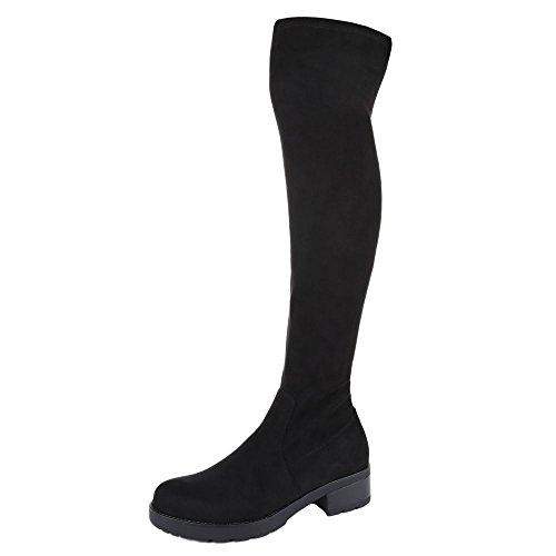 Ital-Design Overknee Stiefel Damen Schuhe Klassischer Stiefel Blockabsatz Overknee Reißverschluss Stiefel Schwarz