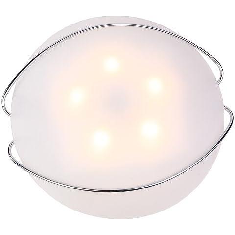Design lampada soffitto lampada cromo satinato vetro opale illuminazione Globo