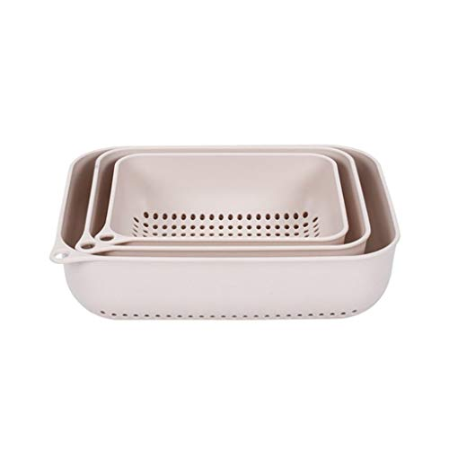 VNEIRW Seiher aus Kunststoff, Abtropfsieb Nudelsieb Filter Gemüse Frucht Korb Sieb Für Küchenzubehör 3PCs Set (Pink)