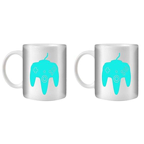 STUFF4 Tasse de Café/Thé 350ml/2 Pack Turquoise/N64/Céramique Blanche/ST10