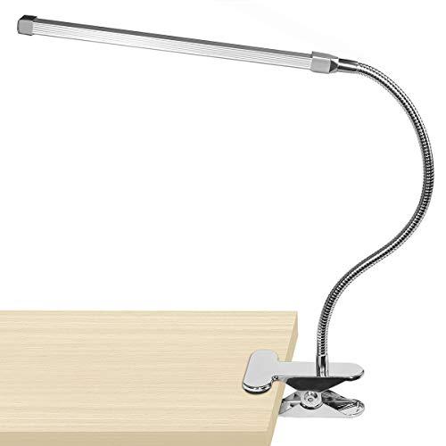 LS01 Lampara Estudio 10 Watts Lámpara de Mesa LED Flexo Pinza con 3 Modos de Iluminación y 10 niveles de Brillo, Diseño Cuello de Cisne para Oficina Dormitorio Lectura Estudiar (Plata)