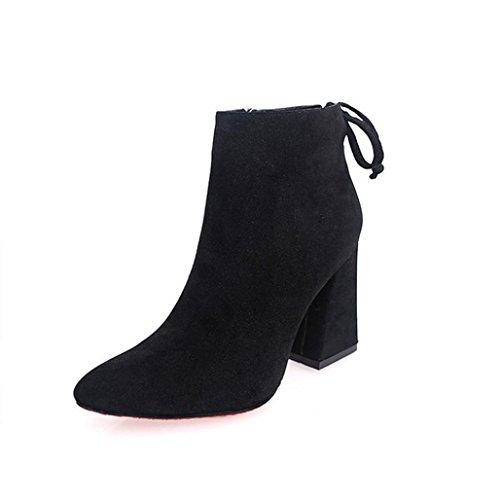 Stiefel Damen Clode® Kurze Zylinder Stiefel Stylish High Heel Stiefeletten Knöchel Knoten Winter Schuhe Schwarz