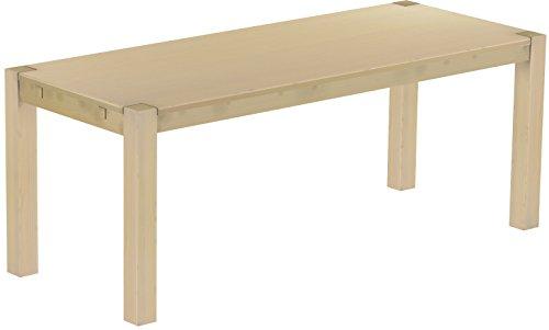 Brasilmöbel® Esstisch Rio Kanto 200x80 cm Birke Pinie Massivholz Größe und Farbe wählbar Esszimmertisch Küchentisch Holztisch Echtholz vorgerichtet für Ansteckplatten Tisch ausziehbar -