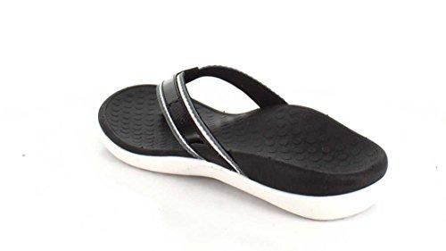 Pantalette Vionic Islander-pantolette / Perizoma, Blu, Pelle / Tessuto, Altezza Tacco: 15 Mm Nero