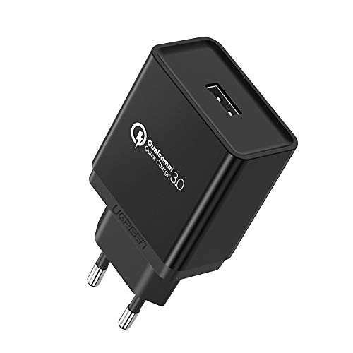 UGREEN Cargador Rápido QC 3.0 18W Quick Charge Qualcomm Certificado para Samsung S10 S9 Plus S8 Plus S8 Note 8, Xiaomi Mi A2 Mi 9 Mi 8 Redmi Note 7 Redmi Note 6 Pro, BQ Aquaris X, Huawei P9, iPhone
