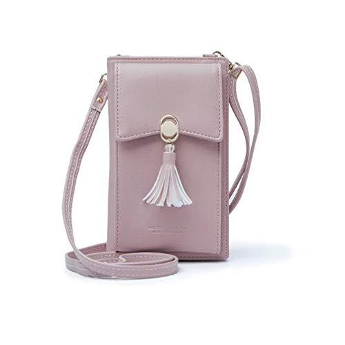 HMILYDYK Frauen Brieftasche Cross-Body Tasche Leder Geldbörse Handy Mini-Tasche Kartenhalter Schulter Brieftasche Tasche (Tassel pink) (Brieftasche Iphone Frauen)