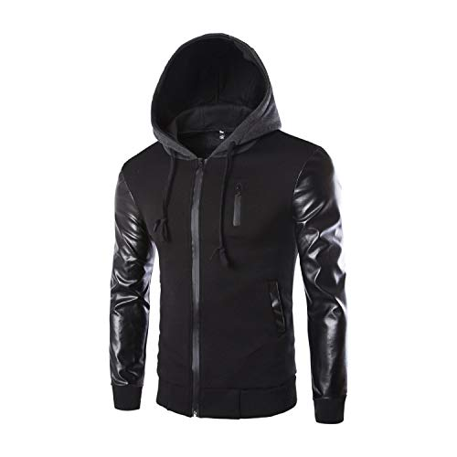 JacketscolorBlackSize Patchwork Sleeve L Outwear Casual Hooded Coat Men's Leather Long 8O0wkPn