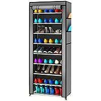 Preisvergleich für BLOIBFS Schuhregal Einfach Mehrstöckigen Speicher Schuhschrank Multifunktionale Haus Schuhregal,Silvergray