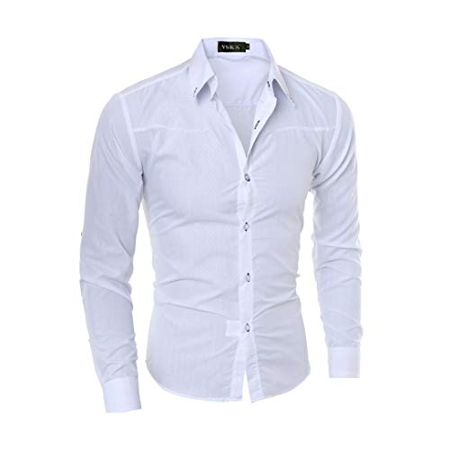 Mens White Tuxedo Shirt (SANQIANLI Neue Männer Casual Shirt Fashion Langarm Plaid Mens Wedding Dress Shirts Slim Männlichen Tuxedo Shirt White XXXL)