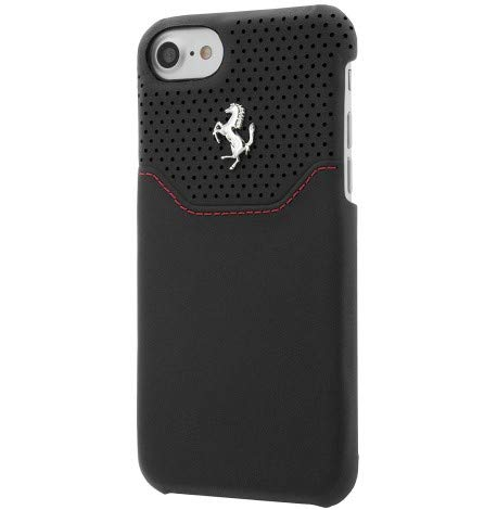 Ferrari FEHOHCP7BKR Hart Schutzhülle für Apple iPhone 7, Echtleder schwarz/Silber