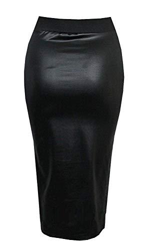 Damen Kunstleder Damen elastischer Bund Bodycon Stretch Wet Look Bleistift ausgestattet Tube Midi Rock (10/12, schwarz) -