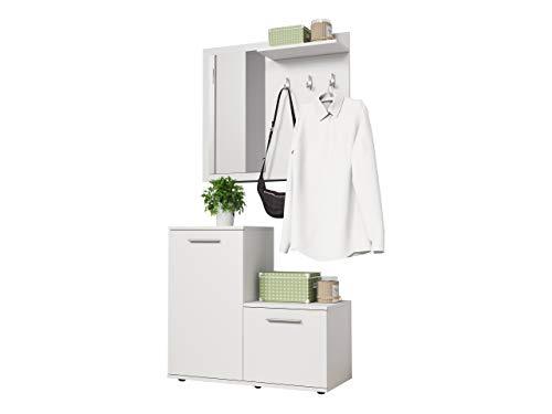 Mirjan24 Garderoben-Set Monti, Wandgarderobe, Flurgarderobe, Farbauswahl, Spiegel, 3 Kleiderhaken (Weiß)