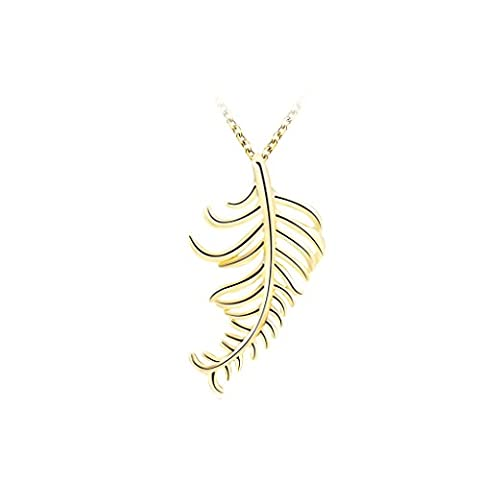 Gnzoe Gold Plated Multilayer Leaves Feather Shaped Pendant Necklaces for Womens,2.1x3.8CM