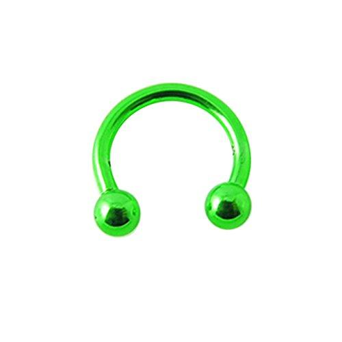 16 Gauge - 10 MM Länge Licht grün Neon eloxiertem 316L chirurgischer Stahl Circular Barbell mit Kugel Septum Piercing