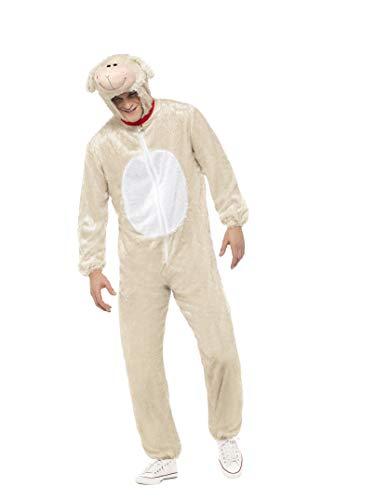 Schaf Kostüm - Smiffys Unsiex Lamm Kostüm, Jumpsuit mit Kapuze, Größe: L, 31676