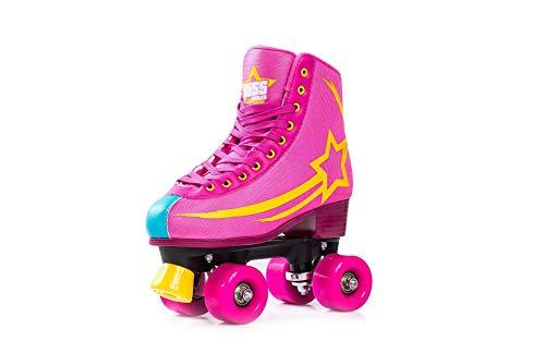 Bliss Rollerskates Mädchen Rollschuhe Damen - Indoor Outdoor Roller Skates Größe 31-42 Rollschuh Rockstar Edition(rosa, 37)