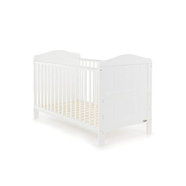Obaby Whitby Cot Bed, White Obaby Adjustable 3 position mattress height Bed ends split to transforms into toddler bed Protective teething rails along both side rails 1