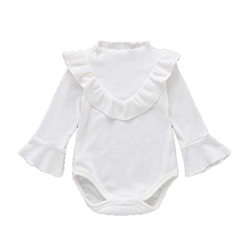 Julhold Neugeborenen Baby Mädchen Nette Elegante Langarm Rüschen Solide Dünne Strampler Bodysuit Kleidung 0-24 Monate (Nette Junior Mädchen Kostüm)