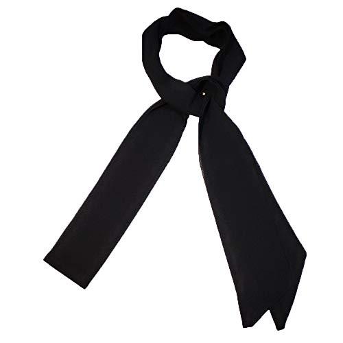 Damen Choker Skinny Schal Damen Dünner langer Halstuch Krawatte Bogen Chiffon 200cm (Schwarz)