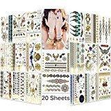 Lady Up® Tatuajes de cuerpo temporales 20 hojas con más de 150 diseños de flores, rosas, mariposas, y una gran variedad de colores. Tatuajes impermeables para mujeres, hombres o niños, 148 x 210mm