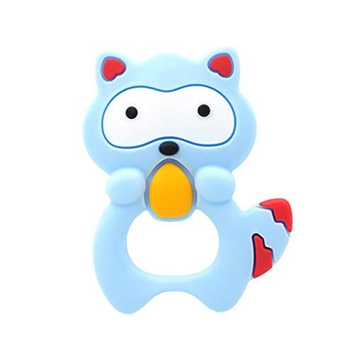 YaptheS Silikon Beißring Baby-Dentitionspielzeug Tier geformt Comfort Chew Rubber Baby Shower Geschenk Biegsame & Freezer freundlich Food Grade Silikon (Blau, Bär) -