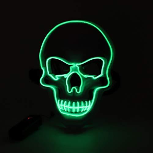 EqWong Halloween LED Maske ,Vollgesichts Skelett EL Draht Maske mit 3 Blitz modi EL Wire Cosplay Schädel Maske Purge Mask für Festival Cosplay Halloween Kostüm