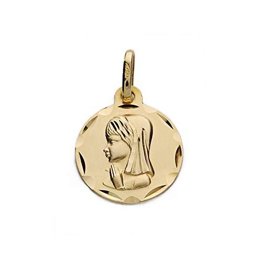 Medalla Oro 9K Virgen Niña Redonda 18mm. Lisa Borde Tallado - Personalizable - Grabación Incluida En El Precio