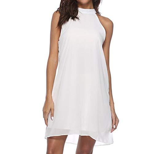 SSUPLYMY Damen Sleeveless Backless Kleid, Ärmellos Minikleid Chiffon Cocktailkleid Lässige Kleidung Abendkleid Frauenkleid Kleid für Frauen Frauen Beiläufiges Sommer Chiffon Kleid -