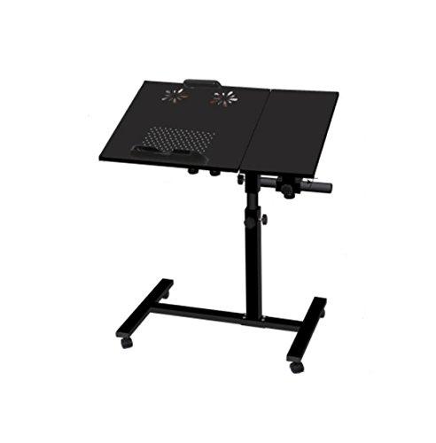 MEI Faltender Computer-Schreibtisch-Aufzug, der faule Laptop-Tisch-Land-und Ventilator-Heizkörper-Bett-Haus-drehendes Bett-Beistelltisch-Schlafzimmer-Wohnzimmer mit Doppelventilator bewegt ( Farbe : Schwarz ) Land Beistelltisch