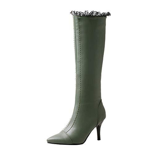 NINGSANJIN Unisex Damen Herren Worker Boots Übergrößen Warm Gefüttert (Grün,38)