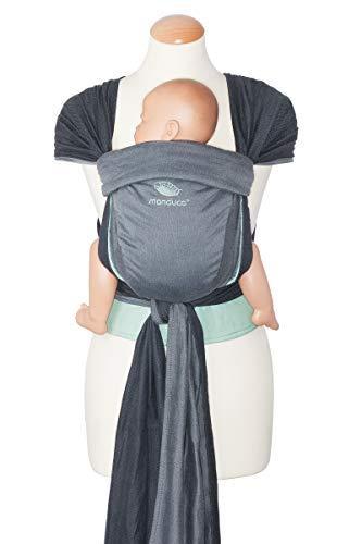 manduca Twist Babytrage > Die eine Babytrage für alle < Neugeborenen-Trage aus Tragetuch-Stoff (Bio-Baumwolle) I Weicher Bauchgurt I Träger zum Auffächern (Baby Wrap Conversion), grey-mint/grau
