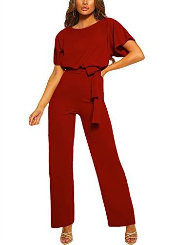 Happy Sailed Damen Langarm O-Ausschnitt Elegant Lang Jumpsuit Overall Hosenanzug Playsuit Romper S-XL, Rot, Medium (EU40-EU42)