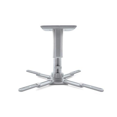 Moman Beamer Halterung Projektor Deckenhalterung 360° Drehbar Belastbarkeit 10kg Ausziehbar Deckenabstand 15-20cm Höhenverstellbar Grau