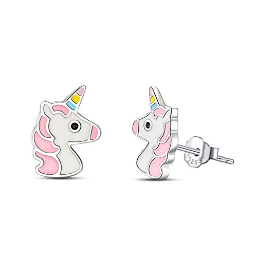 Bisuteria Pendientes unicornio plata de ley 925