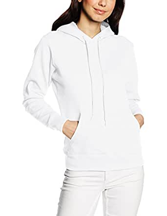 Fruit Of The Loom Lady Fit Hooded Sweatshirt White XS