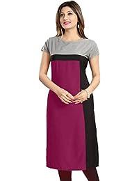 Purple Fashion Women's Crepe Solid Straight Kurta