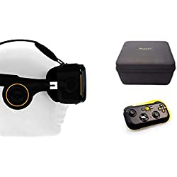 VR-SHARK® X4 Bundle - Virtual Reality Kit with Touchbutton & Bluetooth Gamepad & Hardcase | VR glasses for 4.7 - 6.2 inch Smartphone 's | Comp. With NEXUS / SAMSUNG / LUMIA / LG / MOTO / HTC / HUAWEI / SONY | [FOV 120 ° | PD + FD | BT Controller | White]
