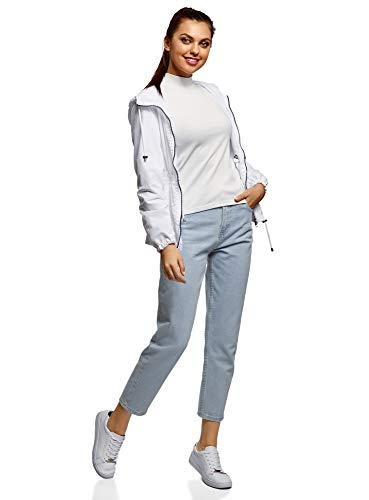 oodji Ultra Damen Jeans Mom Fit mit Hohem Bund, Blau, 26W / 32L (DE34 = EU36 = XS) -