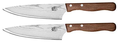 2x GEHRING Solinger Damastmesser Kochmesser 15 cm Klinge Damaststahlklinge Baumringoptik 65 Lagen Buchenholzgriff (Kitchen Knives Vg-10)