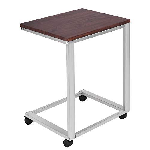 COSTWAY Mesa para Ordenador de Metal + Madera con Ruedas 50x40x65cm Portátil Auxiliar Mesa de Centro Cuidado para Sofá Dormitorio Escritorio